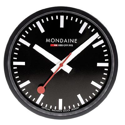 MONDAINE 瑞士國鐵25公分經典掛鐘-黑框