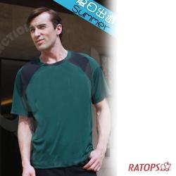 【瑞多仕】男款 3D圓領爬線吸濕排汗_DB8280 暗綠/黑 V1