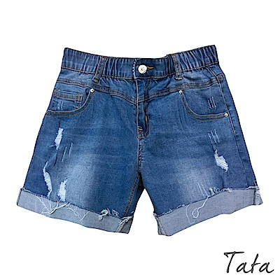 鬆緊帶刷破反摺牛仔短褲 TATA