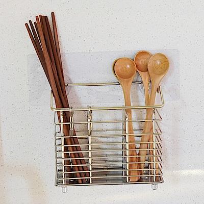 樂貼工坊 不鏽鋼餐具架/掛勾/筷籃/微透貼面(2入組)-15x8x14