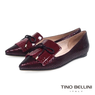 Tino Bellini 金屬色感蛇紋流蘇尖頭樂福鞋_意象紅