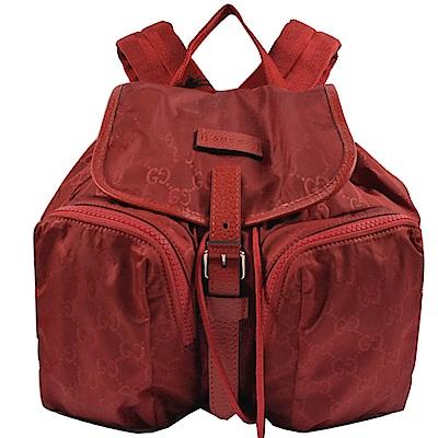 GUCCI 經典GG輕尼龍雙口袋輕巧後背包(紅)