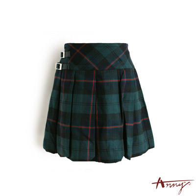 格紋造型扣環百褶裙*9260綠