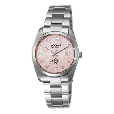 LICORNE 恩萃 Entree  簡約時尚設計都市花瓣腕錶-粉紅x銀白/ 36 mm