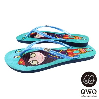 QWQ夾拖的創意(女) - 藝術塗鴨娃娃闖天下夾腳拖鞋 - 淺藍