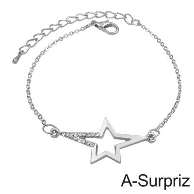A-Surpriz 星鑽戀情造型手鍊(白K色)
