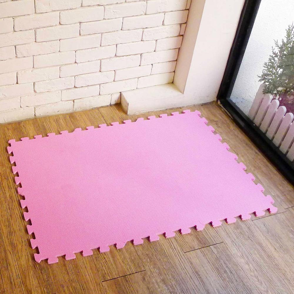 【新生活家】EVA素面巧拼地墊32x32x1cm-粉紅色 8入