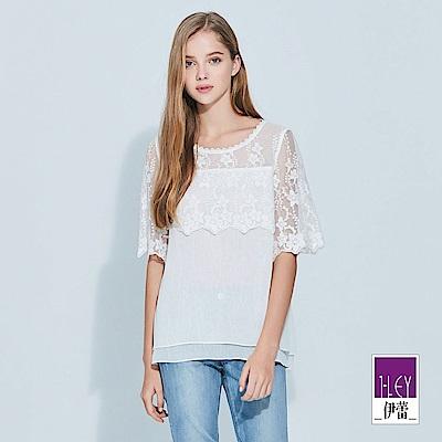 ILEY伊蕾 縷空蕾絲拼接造型袖上衣(白)