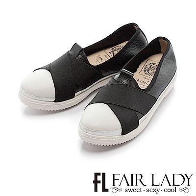Fair Lady Soft Power軟實力 彈力繃帶輕便厚底休閒鞋 黑