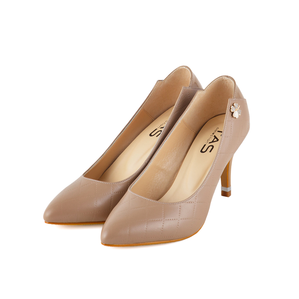 TAS 精緻幸運草水鑽裝飾菱格紋拼接高跟鞋-淺卡其
