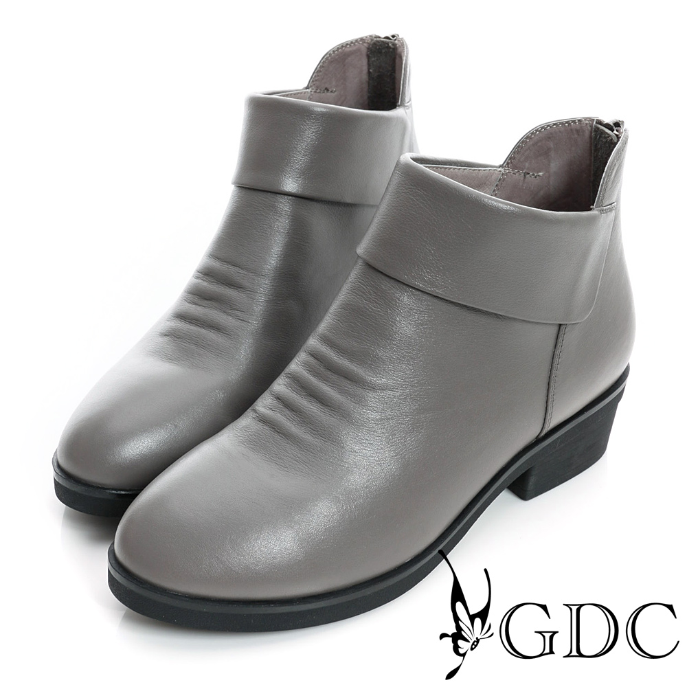 GDC個性-側V切口紳士拉鍊真皮短靴-槍灰色