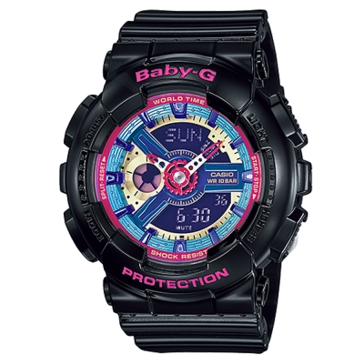 BABY-G 多層次立體感繽紛色彩休閒運動錶(BA-112-1A)-黑色/43.4mm