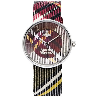 Vivienne Westwood 經典英式蘇格蘭格紋腕錶 -紅色格紋/36mm