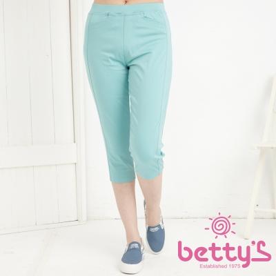 betty-s貝蒂思-口袋小V彈性內搭七分褲-淺綠