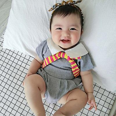 Baby unicorn 淺灰圓領短袖連身衣