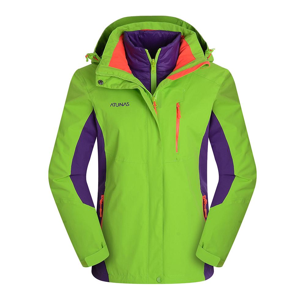 ATUNAS 歐都納 防水科技保暖纖維二件式女外套 A-G1655W 果綠/深紫