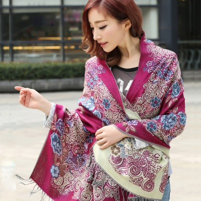 Seoul-Show-牡丹花映棉質編織圍巾披肩-紫紅