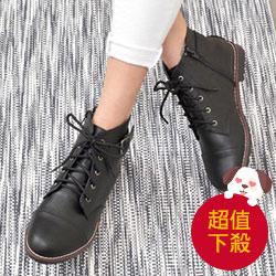個性金屬釦環綁帶低跟短靴