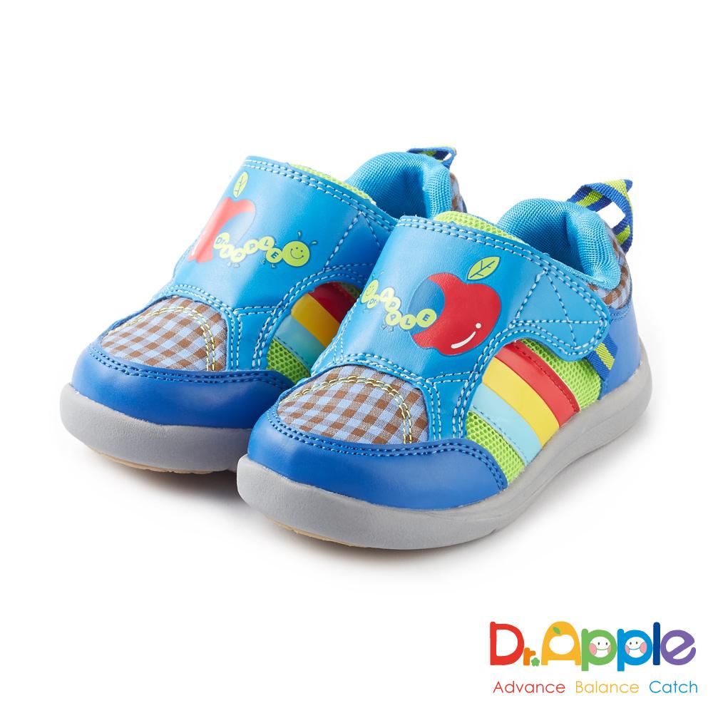 Dr. Apple 機能童鞋 蘋果咬一口經典格紋童鞋款 藍