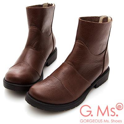 G.Ms. MIT系列-牛皮拼接造型後拉鍊短靴-咖啡