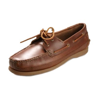 (男)MINNETONKA-Lariat Boat綁帶牛皮帆船鞋-駝色