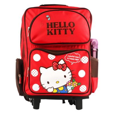 Hello-Kitty-雙層三段式拉桿後背書包-紅