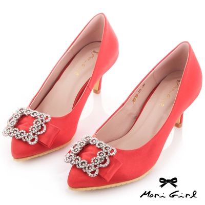 Mori girl 絕美水鑽蝴蝶結緞面中跟婚鞋 紅