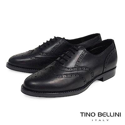 Tino Bellini 義大利經典真皮雕花牛津鞋_ 黑