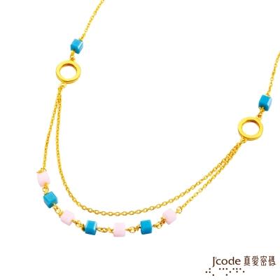 J code真愛密碼金飾 動感樂章黃金/土耳其石項鍊