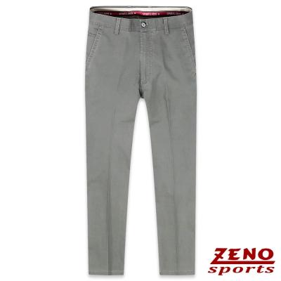 ZENO 彈力修身格紋無摺休閒長褲‧褐色30-42