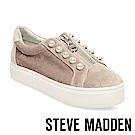 STEVE MADDEN-LYNN 珍珠鑲嵌拉鍊懶人鞋-灰色