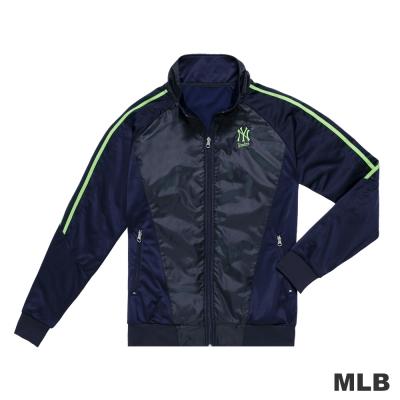 MLB-紐約洋基隊LOGO電繡拼接造型立領休閒外套-深藍色(男)