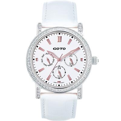 GOTO 溫柔氣息晶鑽時尚腕錶-白/40.5mm