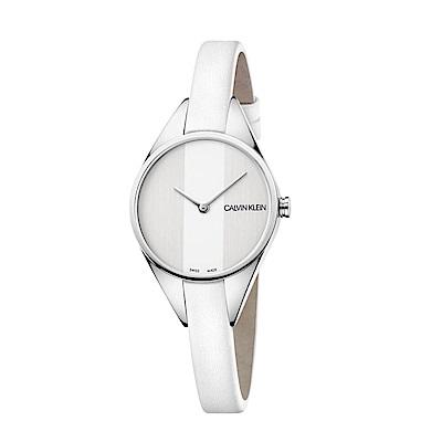 CK CALVIN KLEIN Rebel 叛逆系列線條設計白色錶盤女錶-29mm