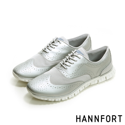 HANNFORT ZERO GRAVITY動感牛津翼紋雕花氣墊鞋-女-科技銀