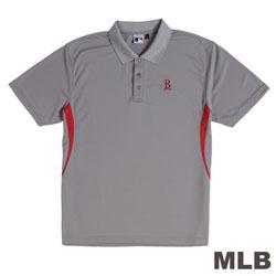 MLB-波士頓紅襪隊開釦式電繡POLO衫-灰(男)