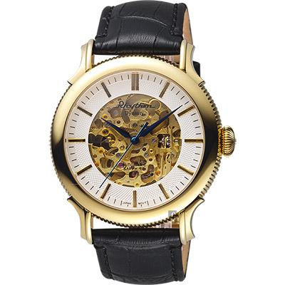 RHYTHM日本麗聲 Dynasty鏤空機械錶-金框x黑皮帶/43mm A1511L02