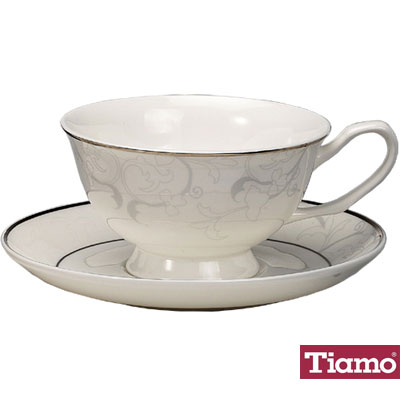 Tiamo白金花金鉑咖啡杯盤組2客HG3213