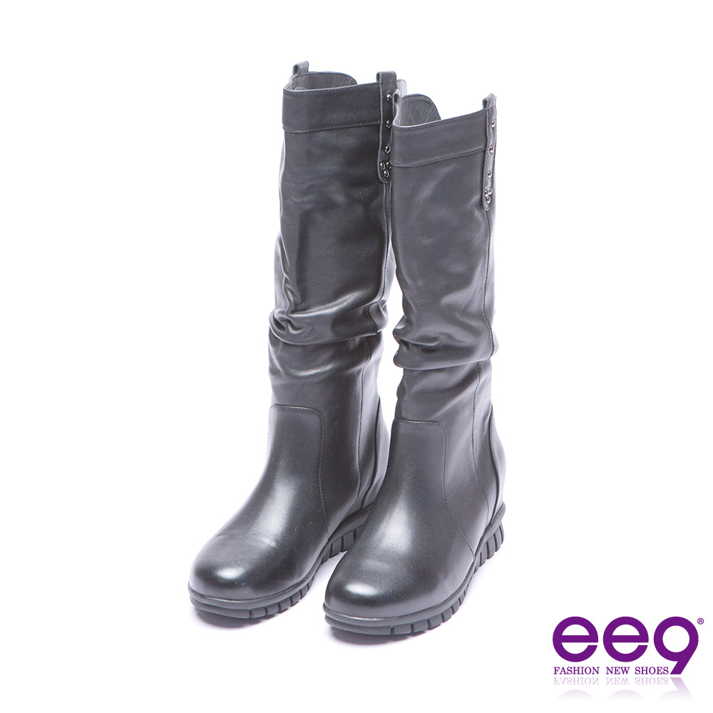 ee9 經典素面抓皺百搭內增高長筒靴 黑色