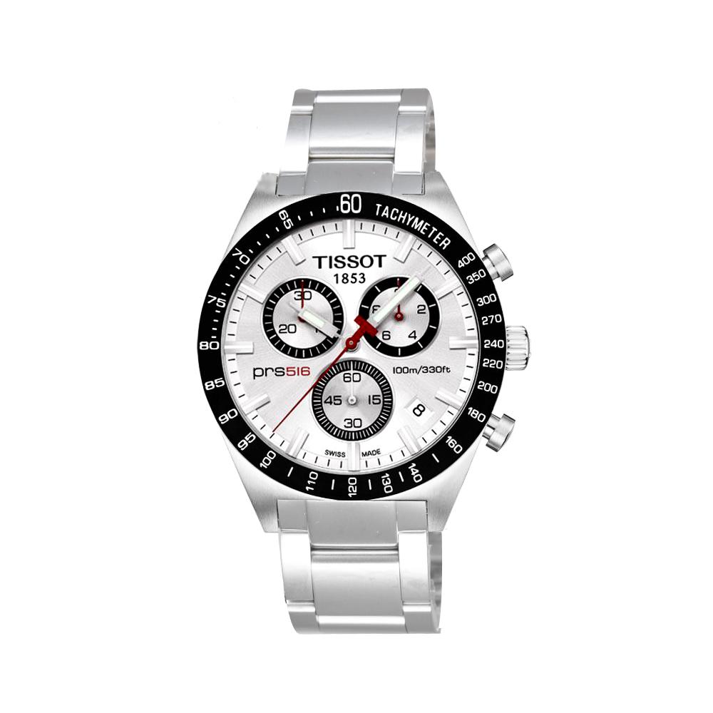 TISSOT PRS516極速復刻石英腕錶-銀白42mm