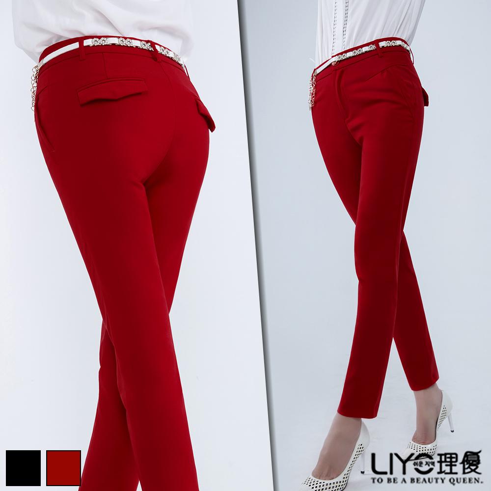 LIYO理優褲子修身西裝褲紅黑