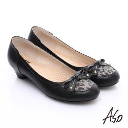 A.S.O 3E舒活寬楦 全真皮動物紋鞋面奈米低跟鞋 黑