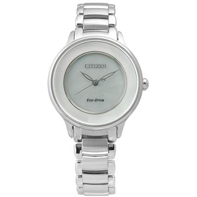 CITIZEN 純淨時光白碟貝面光動能女錶(EM0380-57D)-銀/30mm