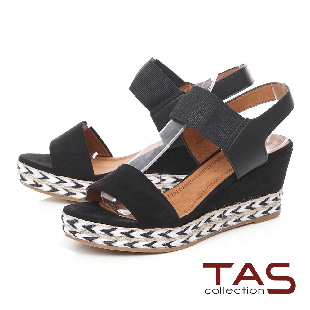 TAS一字鬆緊帶箭紋草編楔型涼鞋-時尚黑