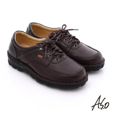 A.S.O 抗震雙核心 真皮拼接網布綁帶奈米休閒鞋 咖啡色
