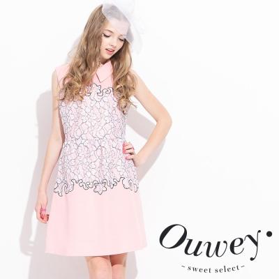 OUWEY歐薇-蕾絲領片背心洋裝
