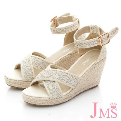 JMS-唯美質感交叉蕾絲環踝楔型涼鞋-米色