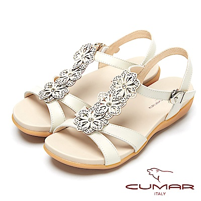 CUMAR心花怒放-皮革花飾真皮平底涼鞋-白色