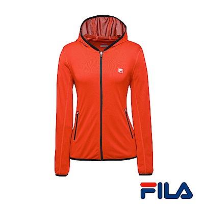 FILA女性吸排/抗UV針織連帽外套(橘紅)5JKR-1318-OR