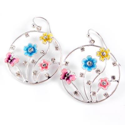 KOURIN花園系列-法瑯彩蝶水鑽花園圈型耳環(銀3cm)
